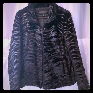 Faux fur jacket zebra embossed